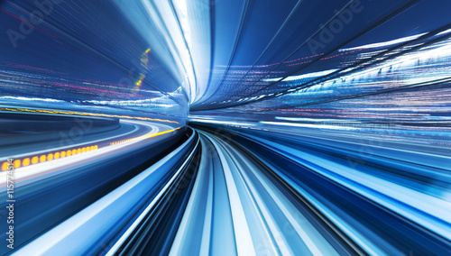 cityscape and rail track in tokyo from speed train Wallpaper Mural