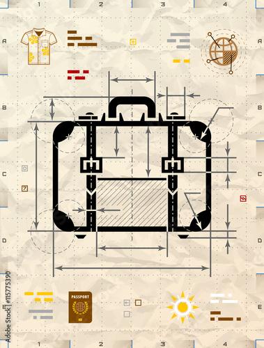 Suitcase silhouette as technical blueprint drawing drafting of suitcase silhouette as technical blueprint drawing drafting of travel bag on crumpled kraft paper malvernweather Choice Image