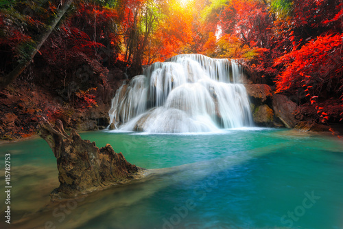 Türaufkleber Wasserfalle The landscape photo, Huay Mae Kamin Waterfall, beautiful waterfall in autumn forest, Kanchanaburi province, Thailand