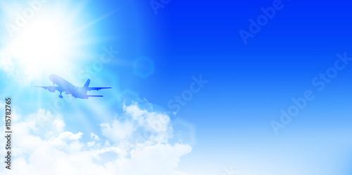 Leinwand Poster 飛行機 空 風景 背景