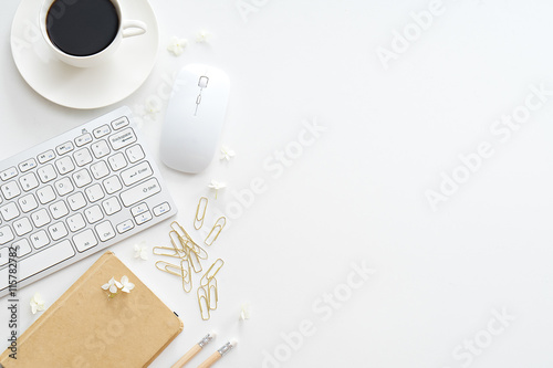 obraz PCV Office desk table with computer, supplies and coffee cup