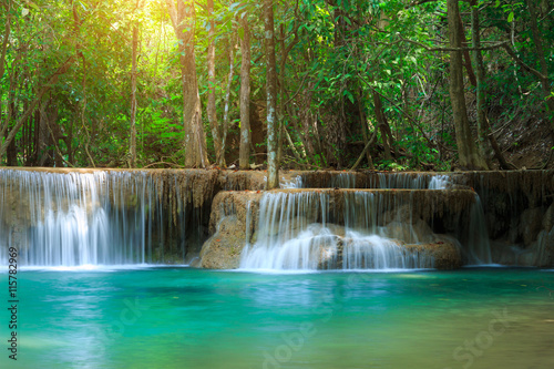 Montage in der Fensternische Wasserfalle The landscape photo, Huay Mae Kamin Waterfall, beautiful waterfall in autumn forest, Kanchanaburi province, Thailand