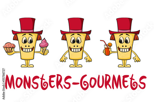 Set Of Cute Cartoon Monsters Gourmets Colorful Toy Characters In Red Holiday Toppers Smiling And Eating Juice And Food Elements For Your Design Prints And Banners Isolated On White Vector Buy