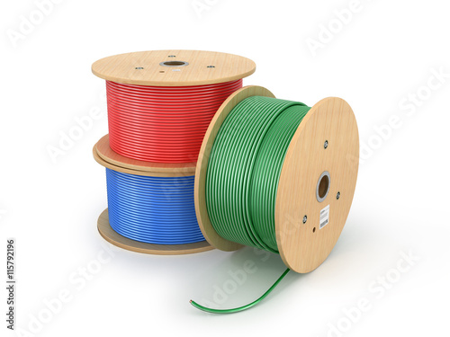 Fotografía  Wooden electric cable reels isolated white background. 3D illust