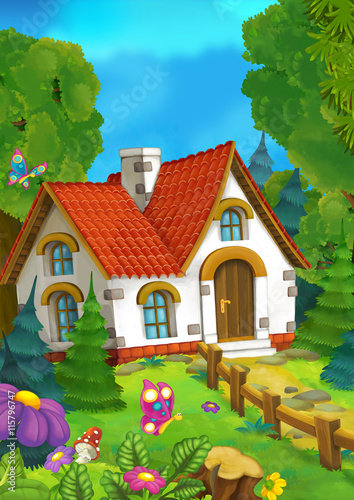cartoon background of an old house in the forest illustration for