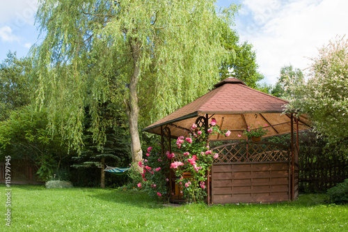 Fotografiet Outdoor wooden gazebo with roses and summer landscape background