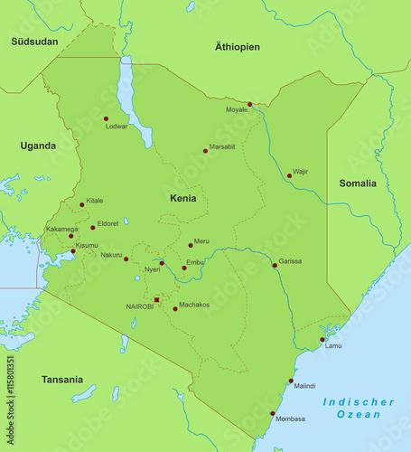 Kenia Karte.Kenia Karte Grün Detailliert Buy This Stock Vector And Explore