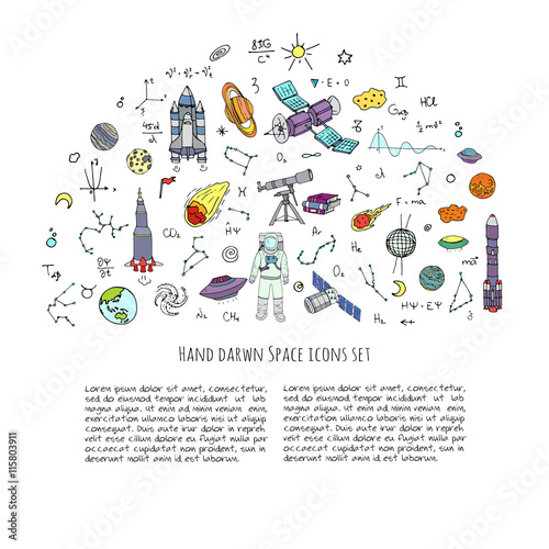 Hand Drawn Doodle Space And Cosmos Set Vector Illustration