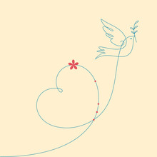 Dove With Heart Shape.