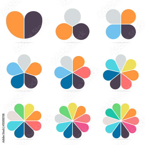 Elements for infographics. Pie charts, diagrams with 2- 10 petals.