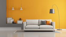 Gray And Orange Modern Lounge