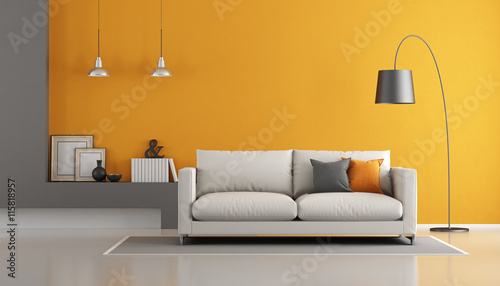 Obraz Gray and orange modern lounge - fototapety do salonu
