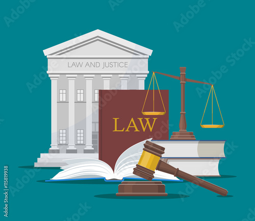 Law and justice concept vector illustration in flat style Wallpaper Mural