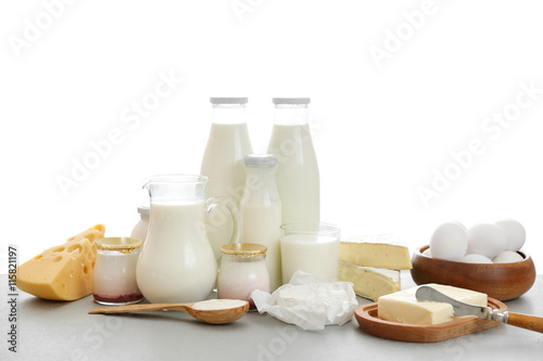 Fotobehang Zuivelproducten Dairy products on kitchen table
