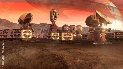 A colony on a Mars-like red planet, with crate pods, satellite dishes and a moon on a dusty sky, for planetary and space exploration backgrounds Poster Mural XXL