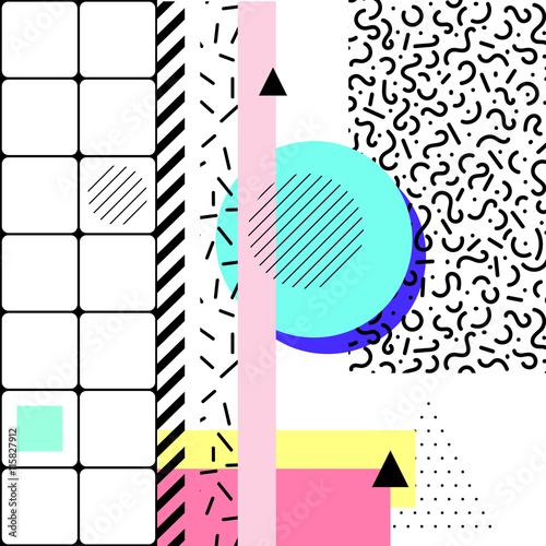 Fotografia  Vector geometric elements memphis cards