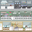 Laboratory vector illustration. Science lab interior. Biology, Physics and Chemistry education concept. Scientific equipment