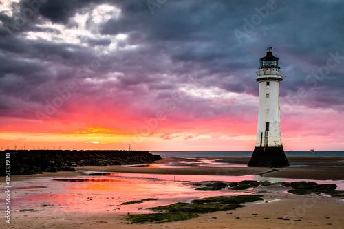 Foto op Aluminium Vuurtoren Perch Rock lighthouse at New Brighton near Liverpool at sunset.