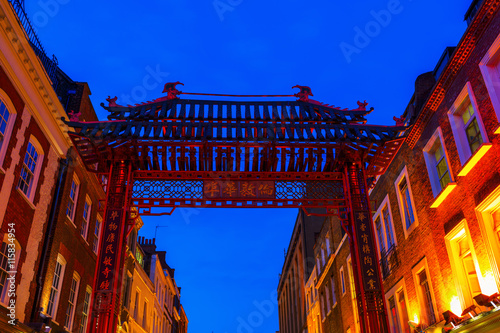 gate of Chinatown in London, UK, at night
