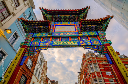 gate of Chinatown in London, UK, at dusk