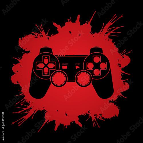 Plakat Gra Joystick zaprojektowany na kolorowym tle grafiki koła wirowania koła.