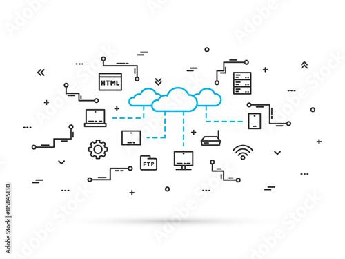 Fotografía  Cloud storage technology line vector illustration
