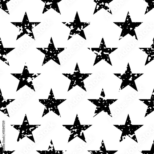 Grunge Stars Seamless Pattern Black And White Retro Background Elements Abstract Geometric Shape Texture Fashion Graphic Design Template For Wallpaper Wrapping Fabric Textile Vector Illustration Buy This Stock Vector And Explore