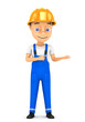 3d cheerful worker in a hard hat on a white background