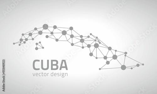 Cuba vector dot contour map Canvas Print