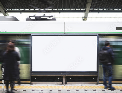 Blank Billboard Banner in Subway station with blur people  Wall mural