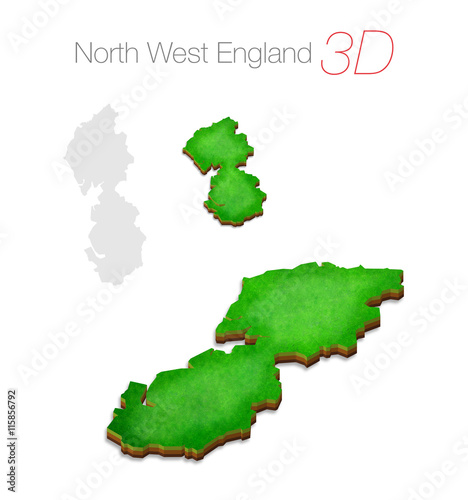 3d Map Of England.Green 3d Map North West England Uk Buy This Stock Illustration