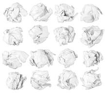 Set Of Paper Balls Isolated On White Background / Papierkugel Set Isoliert Auf Weißem Hintergrund