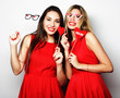 canvas print picture - two stylish  girls best friends ready for party