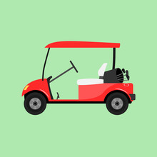 Red Empty Golf Cart. Vector Illustration Isolated.