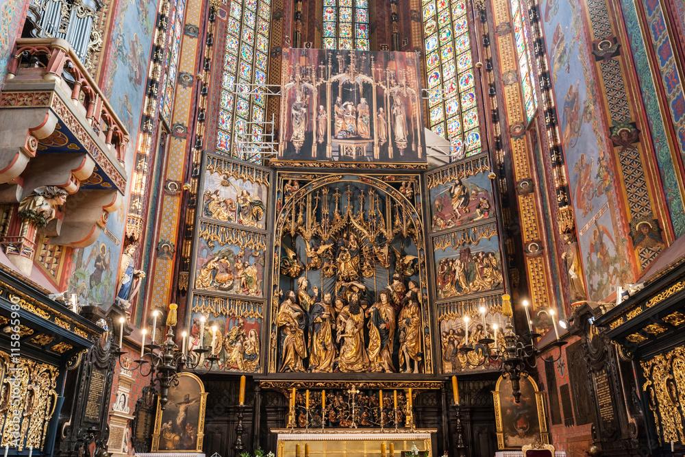 Obraz The altarpiece of Veit Stoss in St. Mary's Basilica, Cracow, Poland. fototapeta, plakat