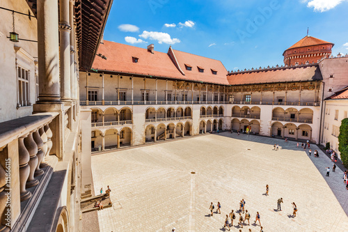 plakat Wawel Castle, Cracow, Poland. The tiered arcades of renaissance courtyard.