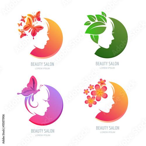 Vector beauty logo, label set. Female face in circle shape ... - photo #9