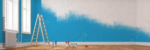 Fotografie, Obraz  Renovierung einer Wand in blau