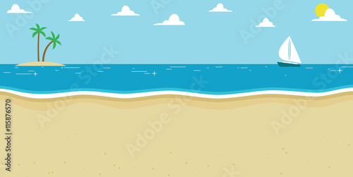 Background Illustration Of Summer Beach With Sailing Boat