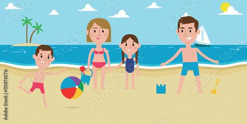 In de dag Regenboog Illustration Of Family Enjoying Beach Vacation Together