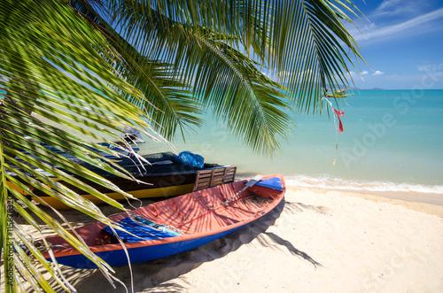 Foto auf Gartenposter Karibik Auszeit: Karibischer Strand mit Fischerboot :)