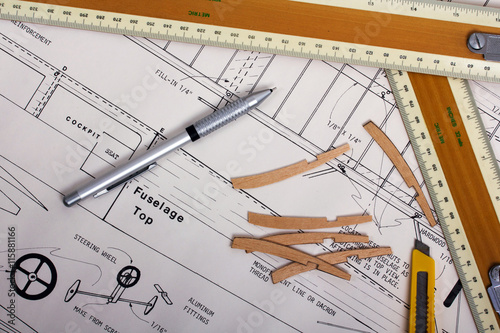Making a model airplane from balsa wood - Buy this stock photo and