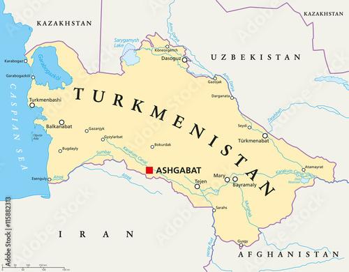 Turkmenistan political map with capital Ashgabat, national ...
