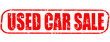 Used car sale on the white background, red illustration
