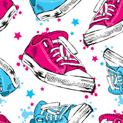 FototapetaSeamless background with sneakers, blots and stars. Vector illustration for greeting card, poster, or print on clothes. Fashion & Style.