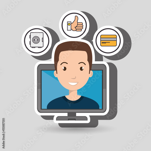 man with hand card and screen isolated icon design, vector illustration  graphic Canvas Print
