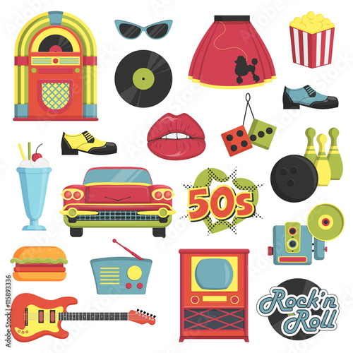Collection of vintage retro 1950s style items that symbolize the 50s decade fashion accessories, style attributes, leisure items and innovations Canvas Print