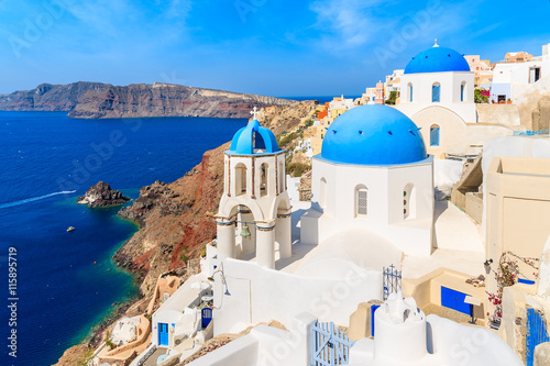 Recess Fitting Santorini View of famous Oia village with blue domes of church buildings, Santorini island, Greece