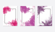 Three Purple Floral Frame Backgrounds With Empty Space For Text