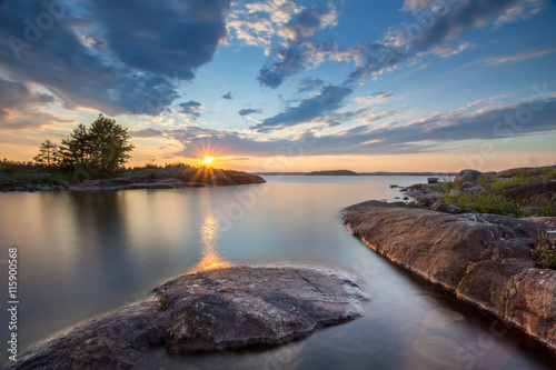Sunset at Ladoga Lake in Karelia, Russia Tablou Canvas